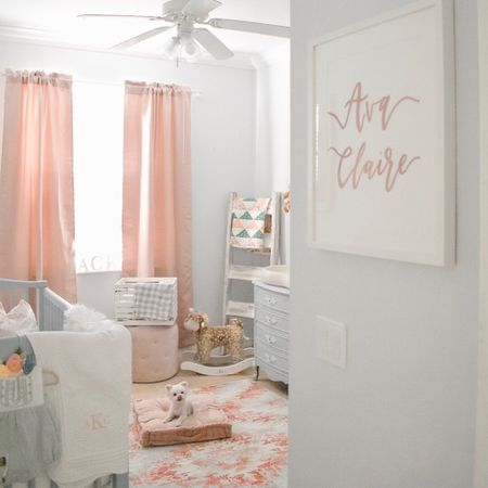 Sneak peek into our girl's nursery! This space has been such a labor of love and I find myself in here almost every day as we await her arrival. Still have a few finishing touches but I love it so much! Shop what you see in the @liketoknow.it app! http://liketk.it/2zyKH #liketkit #LTKbaby #LTKhome