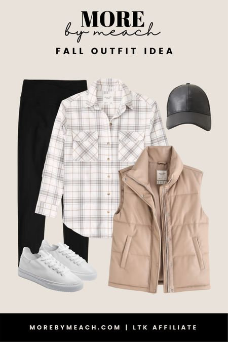 A chic and casual capsule wardrobe outfit using some great Abercrombie staples! || plaid boyfriend shirt, faux leather puffer vest, black leggings, faux leather baseball hat, white sneakers, fall outfits, neutral outfits   #LTKstyletip #LTKSeasonal #LTKSale