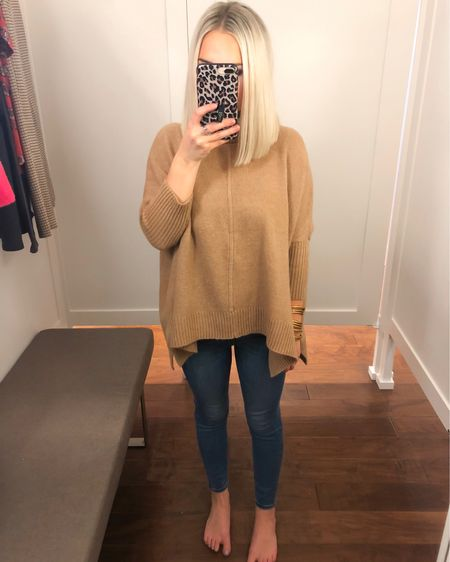LOFT Classic tan poncho turtleneck sweater (XS Petite) with high waisted skinny jeans (24 Petite)!! http://liketk.it/2Fmjh @liketoknow.it #liketkit #LTKsalealert