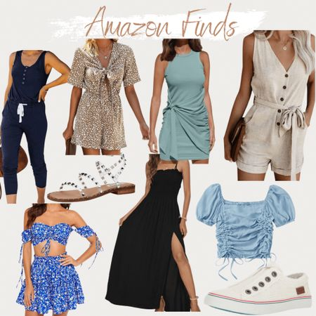 http://liketk.it/3gXK0 #liketkit @liketoknow.it #LTKunder50 amazon fashion, Steven Madden, studded sandals, found it on Amazon, sleeveless jumpsuit, two piece outfit, off the shoulder, floral, puff sleeve square neck crop top, sleeveless romper, vacation outfit, tie front romper, tie front dress, maxi dress, slit dress, flat sandals