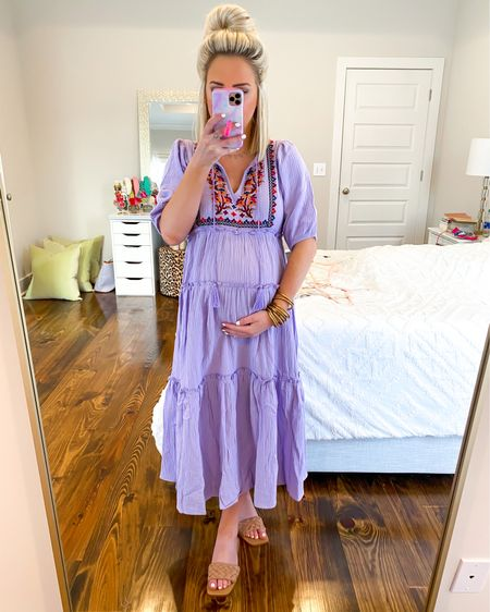 Scoop women's embroidered peasant dress in lavender! Bump friendly.. Wearing the XS Walmart fashion, Walmart finds   http://liketk.it/3g56Y @liketoknow.it #liketkit #LTKunder50 #LTKbump