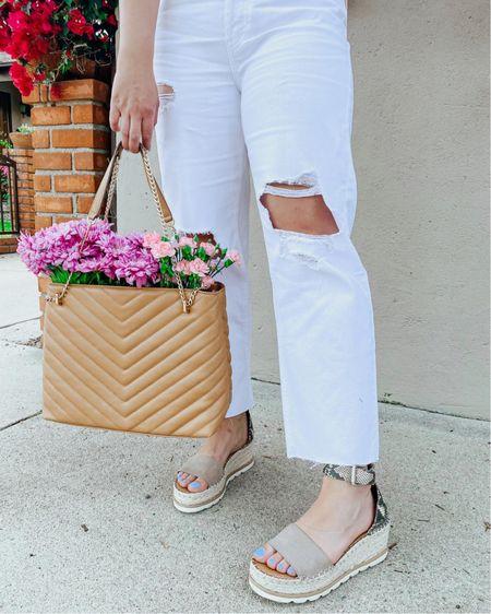 White jeans under $25 (run TTS)  Platform sandals (run TTS)  $40 purse http://liketk.it/3fBy8 #liketkit @liketoknow.it #LTKshoecrush #LTKunder50 #LTKstyletip        White denim  Straight leg jeans  Mom jeans  Snakeskin  Purse under $50  Target find  Target style  Distressed denim