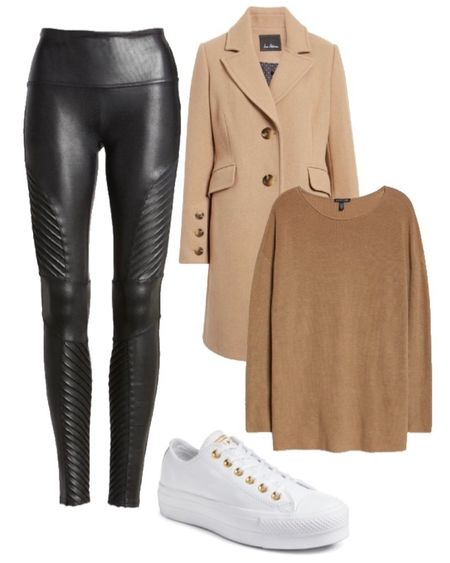 Faux leather leggings winter outfit with moto leggings, camel coat, white sneakers and tunic sweater for winter  #LTKunder100 #LTKSeasonal #LTKstyletip