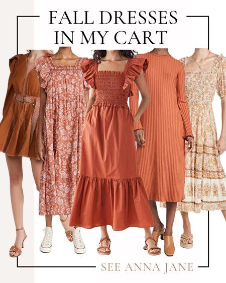 Fall Dresses In My Cart 🍂  #falldress #fallfashion #fallstyle #maxidress #mididress #shopbop #fallclothing #falloutfits #falloutfitideas  #LTKstyletip #LTKSeasonal