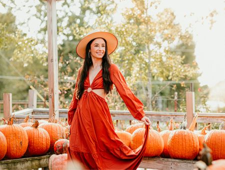 Interrupting your Sunday evening to let you know my dress is $8 right now. 😍 Perfect for all the fall things & would look amazing for family photos! I'm wearing a small and the color is brown although it looks much brighter + copper colored in the sun.   Shein, maxi dress, fall photos, family photo dress, cut out maxi, fall outfit, lack of color hat   #LTKsalealert #LTKunder50 #LTKSeasonal