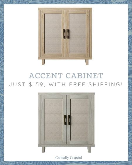 """I've had my eye on this super affordable accent cabinet for some time, but the """"bishop oak"""" and """"fairfax oak"""" colors were out of stock! Both colors have been re-stocked but I'm guessing they will sell out quickly again! Grab it while it's currently on sale for $159 (down from $200)! - Neutral fall decor, fall home decor, fall decorating, fall decorations, fall home decorations, home decor, coastal decor, beach house decor, beach decor, beach style, coastal home, coastal home decor, coastal decorating, coastal interiors, coastal house decor, home accessories decor, coastal accessories, neutral home decor, cane, seagrass, rattan, walmart finds, walmart furniture, affordable furniture, accent cabinet, chest, coastal cabinet, coastal accent cabinet, entryway cabinet, guest room cabinet, dining room cabinet, entryway furniture, entryway chest  #LTKsalealert #LTKhome"""