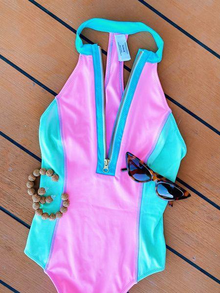 Amazon swimsuit, sunglasses, & raffia hoop earrings 😎 #FoundItOnAmazon #Amazonfashion #Amazonswim #swimsuit