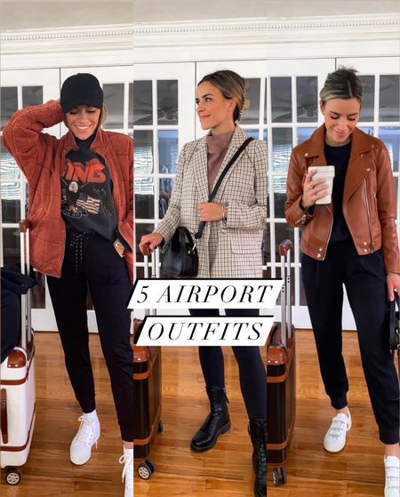 5 airport outfits for your next trip! Which look is your favorite? Sharing all these looks on the LTK APP [link in bio]   #LTKunder50 #LTKsalealert #LTKunder100
