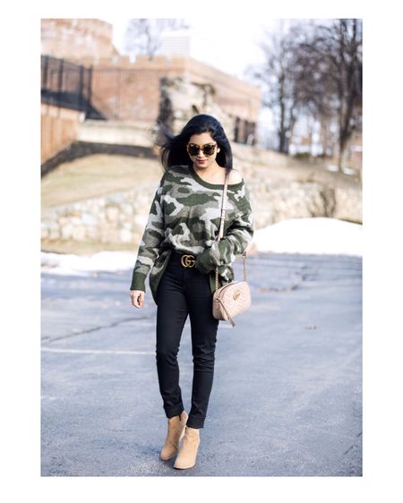 <Comfy casual #ootd> Wearing this super soft camo sweater paired with black skinny jeans and wedge booties.❤️ Happy new week!😘  Outfit details- http://liketk.it/2zCZs #liketkit @liketoknow.it  Screenshot this pic to get shoppable product details with the LIKEtoKNOW.it app!