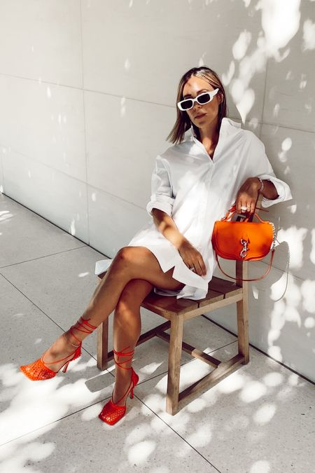 Summer nights call for summer glam! Styled this white shirt dress with some gorgeous high end accessories!     #LTKstyletip