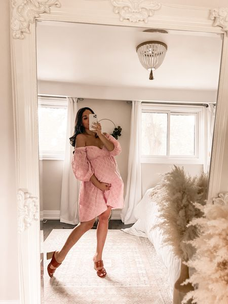 Cutest babydoll dress! Wearing a size medium and works perfectly with the bump! #weddingguestdress #maternitydress #summerdress #minidress  #LTKsalealert #LTKstyletip #LTKbump