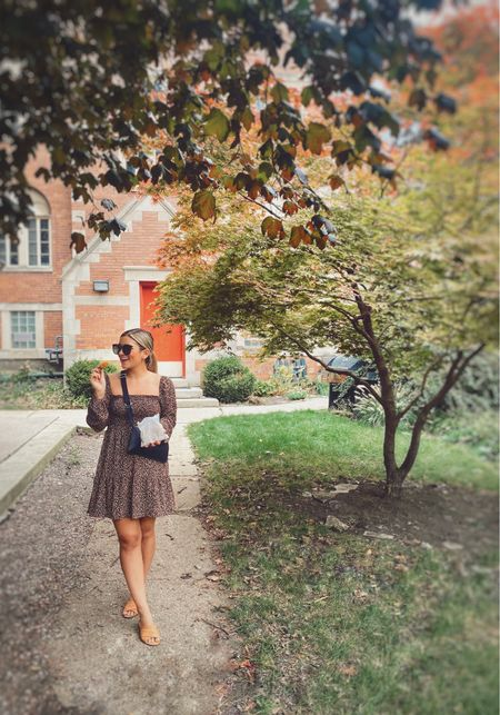 This long sleeve dress is perfect for this in between weather. Obsessed with my sling bag too!  Smocked dress Petite style  Petite blogger  Fall dress Transitional dress  #LTKunder100 #LTKSeasonal