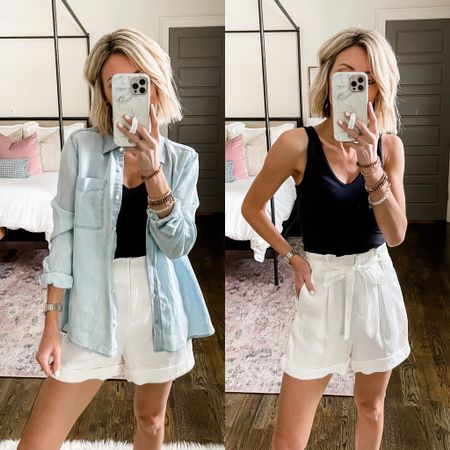 Pair a black bodysuit with white shorts for summer. Add a denim shirt for an extra layer!   #LTKsalealert #LTKDay #LTKstyletip