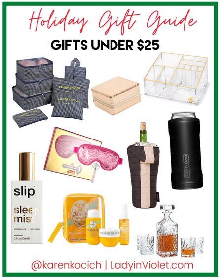 Holiday gift guide / organization gifts / jewelry organizer / travel gift ideas / beauty gift packs / bar cart / brumate / wine holder / white elephant gift exchange   #LTKGiftGuide #LTKunder100 #LTKunder50