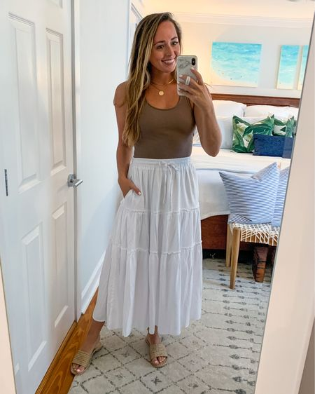 Neutral ribbed racer back tank - size small. Paired with white skirt. Fall in FL vibes!   #LTKSale #LTKsalealert #LTKstyletip