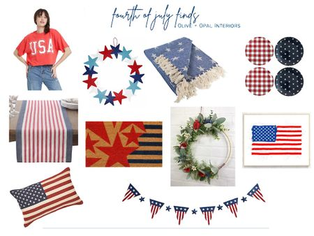 Love these red white and blue home decor finds for the upcoming 4th holiday!  4th of July, patriotic decor, red white and blue decor, flag decor, holiday decor  #LTKSeasonal #LTKhome #LTKunder100