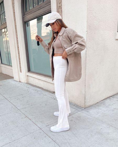 Neutral fall outfit inspo: beige shacket, ribbed flare pants & chunky converse   #LTKSeasonal #LTKstyletip #LTKsalealert