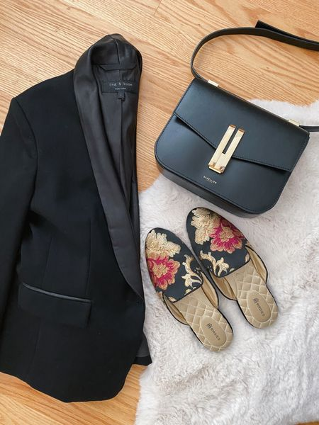 Work outfit classics: leather trimmed Rag & Bone blazer, black DeMellier shoulder bag, and floral jacquard Birdies slippers.  #LTKitbag