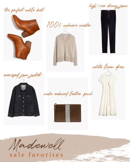 Madewell sale favorites: brown leather ankle boots, cashmere v-neck sweater, high-rise black skinny jeans, linen midi dress, suede pouch, oversized denim jacket.   http://liketk.it/35YWu #liketkit @liketoknow.it #LTKVDay #LTKunder50 #LTKsalealert