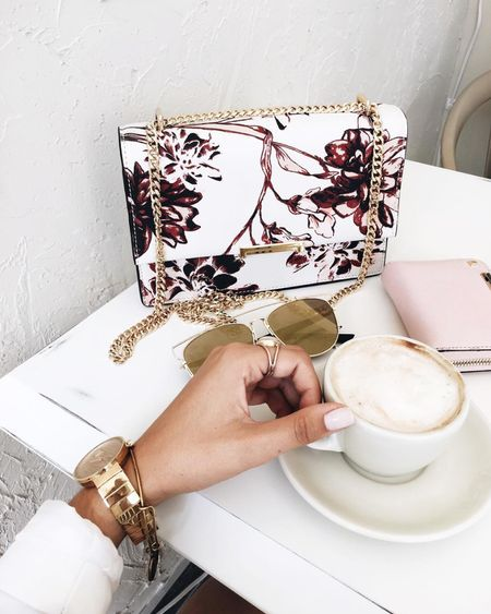 ☕️ with a side of our floral Mara Cocktail bag. Shop this bag and more at #LordandTaylor. http://liketk.it/2p6FF @liketoknow.it #liketkit  #WearITtoWork