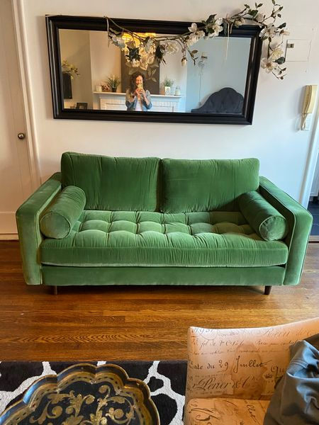 This green couch is everything!! I'm obsessed!   #LTKstyletip #LTKfamily #LTKhome