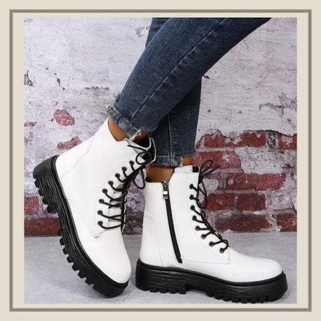 White combat boots with black contrast lace detail from Shein   #LTKshoecrush #LTKunder50 #LTKstyletip
