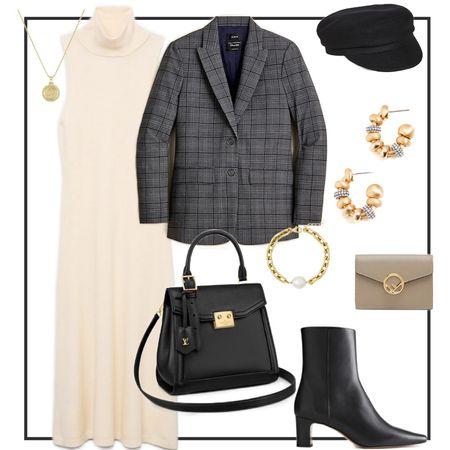 Plaid blazer paired with understated and sleek basics! #ltkunder100 #LTKstyletip #LTKSeasonal