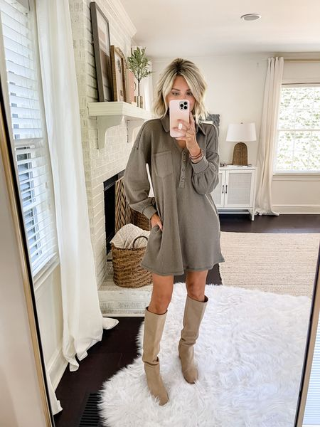 This cozy waffle dress is perfect for fall. Loverly Grey is wearing a small and has paired this with a knee high boot    #LTKstyletip