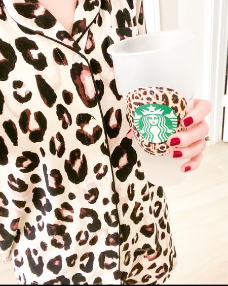 When your pjs match your cup:)   Loving this pj set!  Super soft and comfy - long sleeve top and shorts set.  Top buttons down and shorts have elastic waistband.   Wearing size small - true to size. Comes in other colors/prints.  Linked some similar cups.   All of these items would make cute gift ideas too!         Pjs , pajama set , leopard print , stars above , target style , target finds , target pjs , loungewear , Starbucks cup , etsy , slippers , fuzzy slippers , amazon fashion , amazon finds , gift guide , #ltkholiday , #ltkshoecrush #ltkstyletip  Gift guide , gift ideas , Christmas gifts , gifts for her   #LTKGiftGuide #LTKunder50 #LTKSeasonal