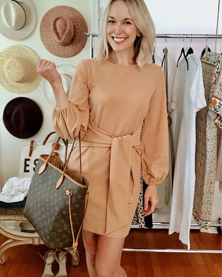 Perfect dress to transition from summer to fall and only $24 >> size up! I'm wearing a medium and the fit and length are perfect 👌🏻 #LTKunder50  Carrying an authentic Louis Vuitton Neverfull MM, my go-to travel tote. Linked this style and a dupe I found for $50!  Makeup products for all-day wear linked as well http://liketk.it/2Ec2C @liketoknow.it #liketkit #LTKtravel #LTKstyletip #LTKitbag #LTKbeauty Amazon, mini dress, Chanel, foundation, bronzer, makeup brush