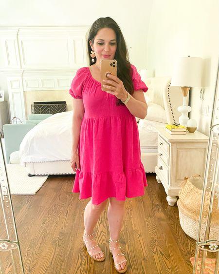 Summer dress, pink baby doll dress, target dress, Steve Madden sandals  http://liketk.it/3fGg9 #liketkit @liketoknow.it #LTKunder50