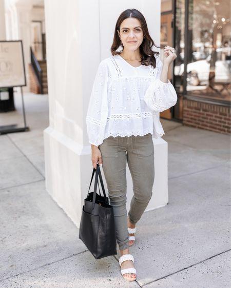 white eyelet blouse, olive pull on jogger leggings — transition outfit idea, American Eagle   #LTKunder50 #LTKsalealert #LTKstyletip