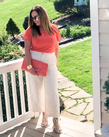 Orange you glad the weather is so nice? 😂🤣😂.  But seriously, I am loving my cropped ivory linen blend pants! I styled with tangerine accessories.  My fabulous multi stone cuff is fabulous #gifted @lovechicos .My blouse is not available but I linked several fabulous options. Swipe to see it styled with different shoes. Which is your favorite?   Please join my friends for #FashionFriday styles!  @melaniespickett @lynnettiu @brigittemarieforet @deborahsorlie @fashionablyfifty @gwenliveswell @seechele_styles @robinlamonte @just.lorilyn @jaxvegancouple @patrishpages @roomtoveuve @mymidlifestylist @just.lorilyn @joyousstyling @overfiftyandblessed @deborahsorlie  . . . . .  http://liketk.it/3cc7f #LTKSpringSale #LTKstyletip #LTKworkwear #liketkit @liketoknow.it.family @liketoknow.it.europe @liketoknow.it Download the LIKEtoKNOW.it shopping app to shop this pic via screenshot   . . . . .  http://liketk.it/3cc7f #LTKSpringSale #LTKstyletip #LTKworkwear #liketkit @liketoknow.it.family @liketoknow.it.europe @liketoknow.it Download the LIKEtoKNOW.it shopping app to shop this pic via screenshot