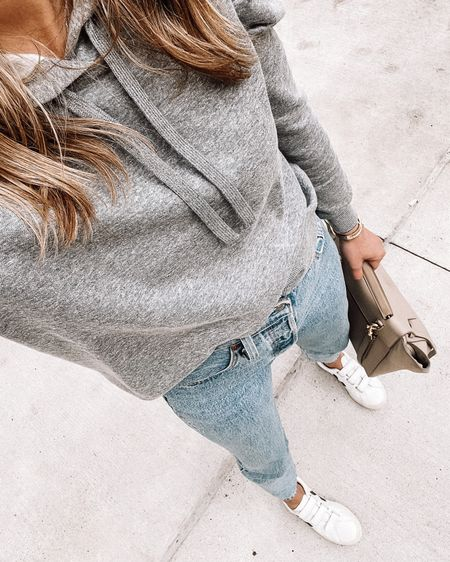 Love this grey puff sleeve hoodie sweatshirt! Wearing size small (tts) and my Levi's jeans (tts/26) #falloutfit   #LTKshoecrush #LTKstyletip #LTKunder100