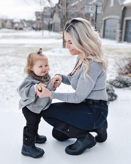 Mommy & me Twinning look! Grey bodysuit, button front jeans, baby ruffle pants, and warm snow boots from BOGS Footwear. Baby girl outfits including grey cape and baby boots. Mom and me style, matching outfits, toddler girl outfits. Also linking my cute black bralette perfect under a v neck! http://liketk.it/2AqAH @liketoknow.it #liketkit @liketoknow.it.family #LTKsalealert #LTKstyletip #LTKhome #LTKunder50 #LTKfit #LTKitbag #LTKunder100 #LTKmens #LTKswim #LTKfamily #LTKeurope #LTKcurves #LTKbeauty #LTKbump #LTKshoecrush #LTKbaby #LTKkids #LTKwedding