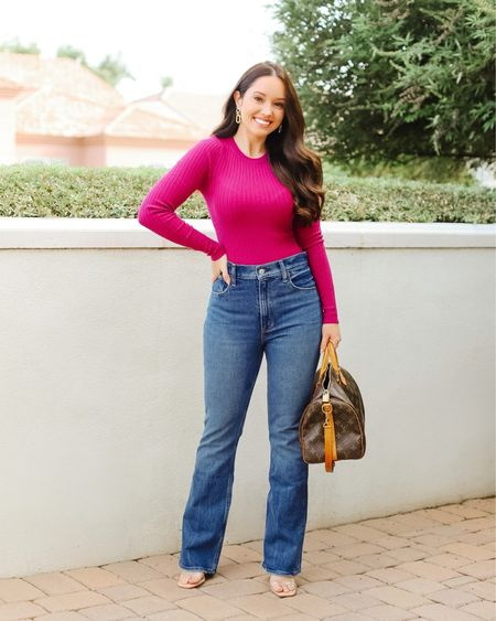 These petite friendly jeans are magic!!!   Finding jeans that don't make my legs look extra short can be a struggle but these high waisted vintage flare jeans are gold! They elongate my legs and fit my tush perfectly!  Link in bio to shop! For reference I'm wearing size 25 short.   #LTKunder100 #LTKDay #LTKSale