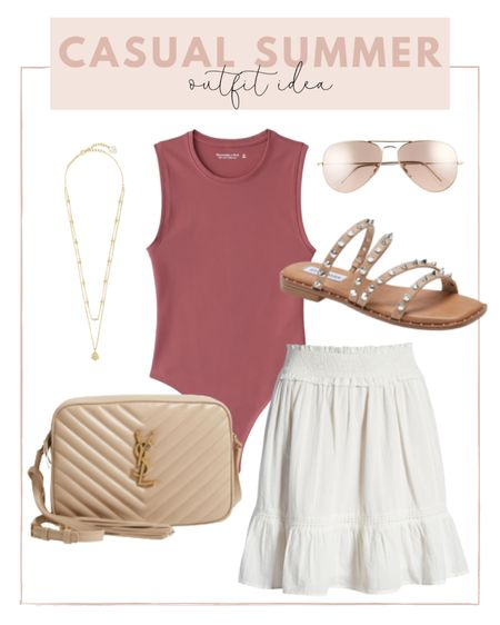 Casual summer outfit : pair a bodysuit with a white skirt and neutral accessories.   #LTKunder100