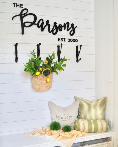 This Mudroom Update was a Blast to do! I added peel and stick wallpaper, black hooks, a simple basket with lemon stems. I found pillows around the house I already owned. The wood lettering from @craftcuts was the element that pulled it all together! I love how it turned out 🍋🍋🍋   http://liketk.it/2M4Rv #liketkit @liketoknow.it   @liketoknow.it.home  Shop your screenshot of this pic with the LIKEtoKNOW.it shopping app