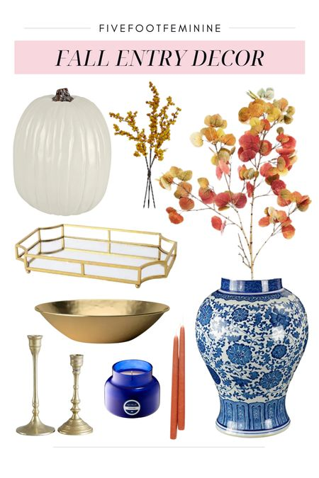 Fall entryway decor! Perfect for Halloween and thanksgiving 🍁🍂  Tags: chinoiserie, gold tray, mirror tray, gold bowl, candle sticks, white pumpkin, fall foliage, faux fall stems, fall leaves, fall branches