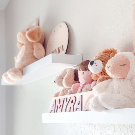 Just a little sneak peek 👀 so far I'm loving the little plushies on the shelves! I wanted Amyra's room to be classic white w/ white furniture & the pink to be in the details. Can't wait for the full nursery reveal, but for now enjoy this little sneak peek!💕✨#BabyL  #LTKbaby #LTKbump #LTKunder50