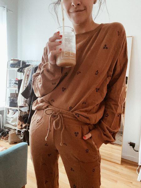 Coffee Iced coffee Sweats Sweat set Cozy Brown sweats  #LTKstyletip #LTKunder100 #LTKSeasonal