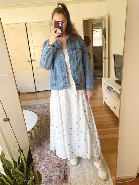 Spring/summer outfit, H&M Voluminous floral printed Maxi Dress, blue and white print, ankle length dress, budget friendly, under $35, reebok sneakers, comfy shoes, casual outfit, ASOS Missguided oversized denim jacket in blue, jean jacket, gold jewelry from Amazon, home decor, rug layering, living room, mirror selfie, planters   #LTKunder50 #LTKhome #LTKunder100