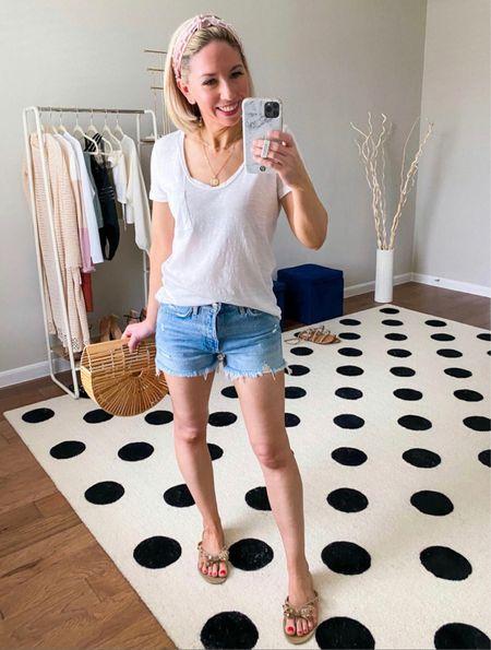Favorite tee on sale!  Love this one so much - I have in three colors.  Wearing in small, true to size        T-shirt, jean shorts, nordstrom, nordstrom anniversary sale, #ltkitbag, #nsale NSALE , sandals #ltkshoecrush  #LTKunder50 #LTKsalealert #LTKSeasonal
