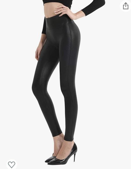 Spanx dupe // NSALE alternative // faux leather leggings // black leggings // amazon leggings   TTS (I wear a L)  #LTKsalealert #LTKSeasonal #LTKunder50