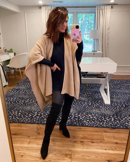Ruana (poncho) one size  Faux leather leggings (M) .. Nordstrom anniversary sale, fall fashion, otk boots, nsale @liketoknow.it http://liketk.it/3jKkz #liketkit #LTKstyletip #LTKsalealert #LTKshoecrush