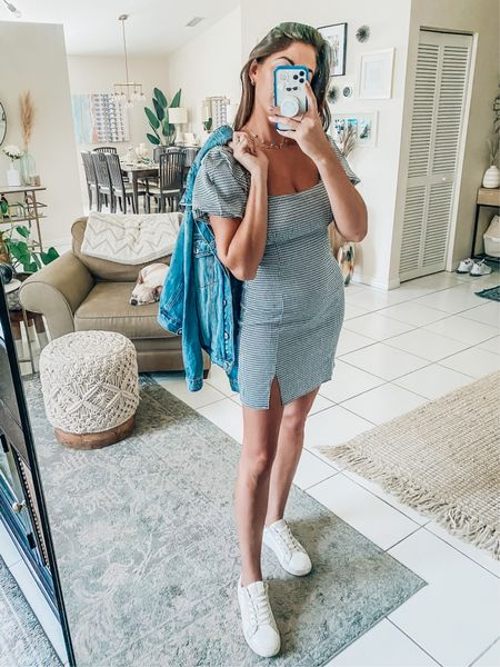 gingham dress Puff sleeve Denim jacket  Street style Travel outfit  San Francisco  Summer to Fall transitional outfit   #LTKunder50 #LTKunder100 #LTKtravel