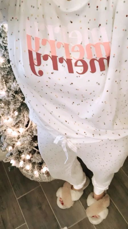"""The MOST comfortable buttery soft Christmas pajamas! There's 10+ adorable styles, I got the """"Merry"""" and """"Flamingo"""" 🎄 🦩 Black Friday sale under $25 a set! 🙌  . . Pajamas, Christmas pjs, holiday pajamas, lounge wear, joggers, gifts for her, Christmas gifts  #LTKsalealert #LTKgiftspo #StayHomeWithLTK"""