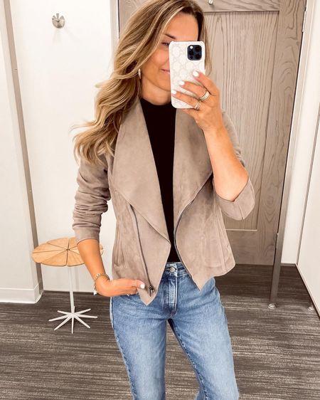NSale jacket, bodysuit and high waisted denim. http://liketk.it/3jMhb #liketkit @liketoknow.it #LTKunder100 #LTKstyletip #LTKsalealert