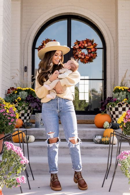 Hello fall!🍂🌻🎃 I love finding pieces that I can mix and match tons of different ways & these jeans are definitely a pair I wear on repeat. Pair them with a sweater, hat (this one is SO good), and some booties and you've got yourself a cute fall look. Linking my outfit details with sizing info in the LTK app!    Wearing XS in the sweater- denim runs tts! ❤️
