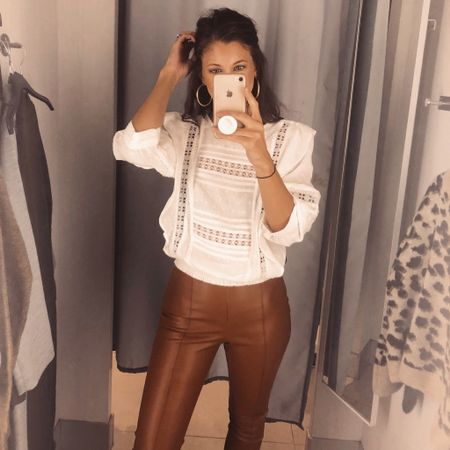 Amazing Fall finds today at H&M!! Everything is under $60.00. Including these amazing faux leather legging, which will be a staple in my wardrobe all winter! Follow me on the LIKEtoKNOW.it app to get the product details for this look and others #liketkit @liketoknow.it http://liketk.it/2EQzS